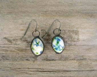 Tea Party Earrings, Soldered Earrings, Ceramic Earrings, Drop Earrings