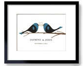 Winter Wedding Love Birds Unique Engagement Gift Personalized Wedding Gift for Couples
