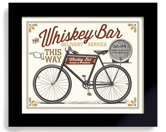 Scotch Whiskey Barrel, Bar Sign, Bicycle Art, Beer Art, Mixed Drink, Cycling Artwork, Pub Decor, Barware Gift Alcohol Sign