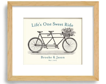 Unique Engagement Gift - Personalized Wedding Gift - Wedding Decor - Gift for Couples - Bicycle for Two - Bridal Shower