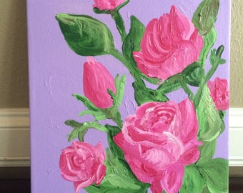 Floral nursery children's wall art 11x14 , Nursery painting - Pink roses, flowers, garden
