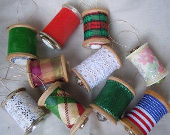 Vintage spool ornaments