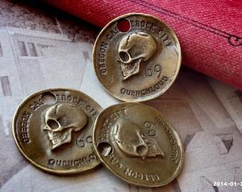 """28 mm Antiqued Bronze """"The Quenchloud Medallion, A Japanese Pendant - Castle Rock City, Oregon"""" Charm Pendants (.gssg)"""