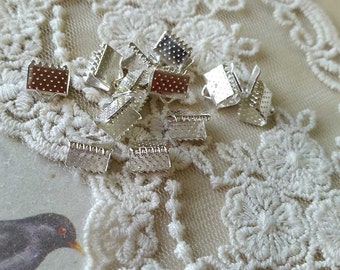 8 x 6 mm Silver Plated Fasteners Clasps (.msn)