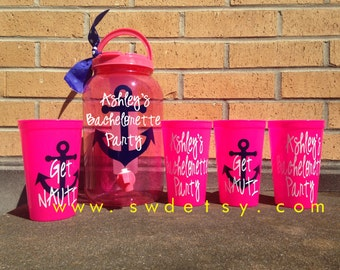 Get Nauti Bachelorette Party Tumblers, Drink Dispenser and Set of 6 Cups