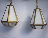 Midcentury Pendant Lamps, Pair