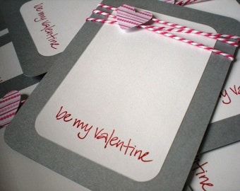 Valentines Day Cards set of 12 with Envelopes-Pink Hearts and Be My Valentine