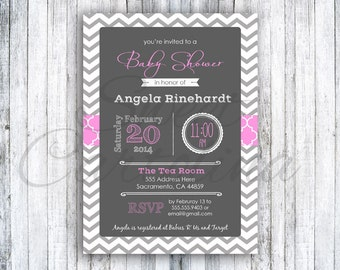 Printable Whimsical Chevron Baby Shower (Digital Image) - Multiple Colors