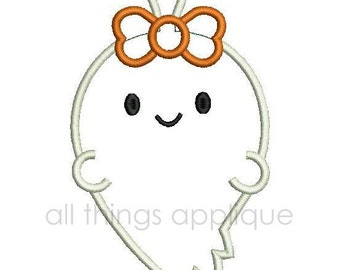 Girl Ghost Applique Design - 3 Sizes - INSTANT DOWNLOAD