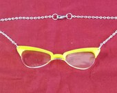 YELLOW Rimmed EYE GLASSES Pendant Silver Chain Necklace Punk  Emo Steam Punk