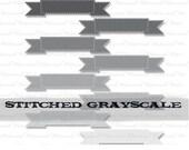 Ribbon Clip Art, clipart, digital frame, banner clip art, journal tag, scrapbooking clipart, black white gray : c0098 & v001