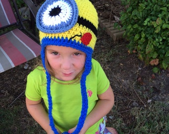 Ready to Ship - Yellow Blue Monster Hat Crochet Yellow Blue Monster Hat Photo Prop (Toddler 1-3 years)