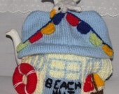 pre order Hand Knitted Tea Cozy / cosy Beach hut, Nautical, bunting , seagull, boat,sea