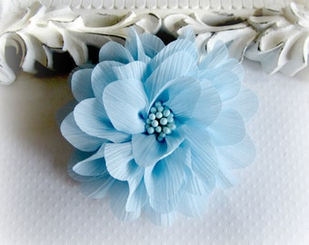 Light Blue Chiffon Flower. Pale Blue Chiffon Flower.  1 pc. ISLA Collection. A3-SF-002E