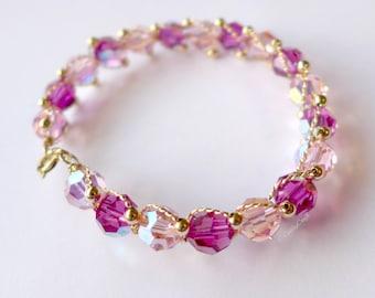 Rose Pink Ombre Swarowski Crystal Bracelet