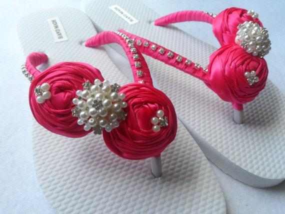 Fuchsia Color Bridal Flip Flops / Pearls Rhinestone Flip Flops / Rolled Flowers Flip Flops / Bridal Sandals / Bridesmaid Shoes..