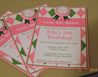 Tennis Birthday Invitations-Tennis Invitation-Tennis Birthday-Tennis Party-Tennis Invite-Tennis Birthday Invitation