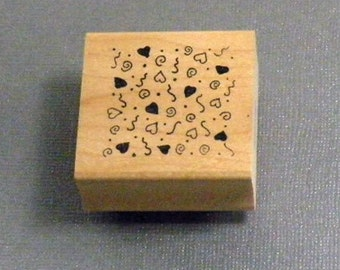 Heart Background Rubber Stamp