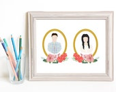 Though Very Humble : Custom Sweethearts Floral Cameo Pair 8x10 Portrait Illustration