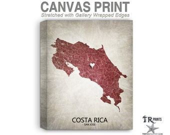 Costa Rica Map Stretched Canvas Print - Home Is Where The Heart Is Love Map - Original Personalized Map Print on Canvas