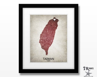 Taiwan Map Art - Home Is Where The Heart Is Love Map - Original Custom Map Art Print Available in Multiple Size and Color Options