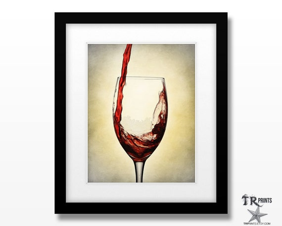 Serving Red Wine - Cocktail Series - Red Wine Art Print Available in Multiple Size Options