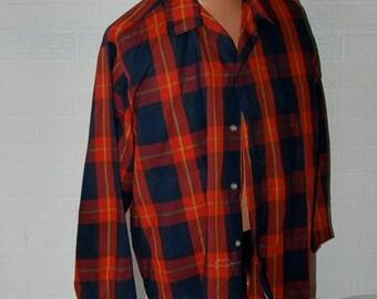 Vintage McGregor Cotton Blend Red Black Yellow Tartan Lightweight Long Sleeve Shirt XL