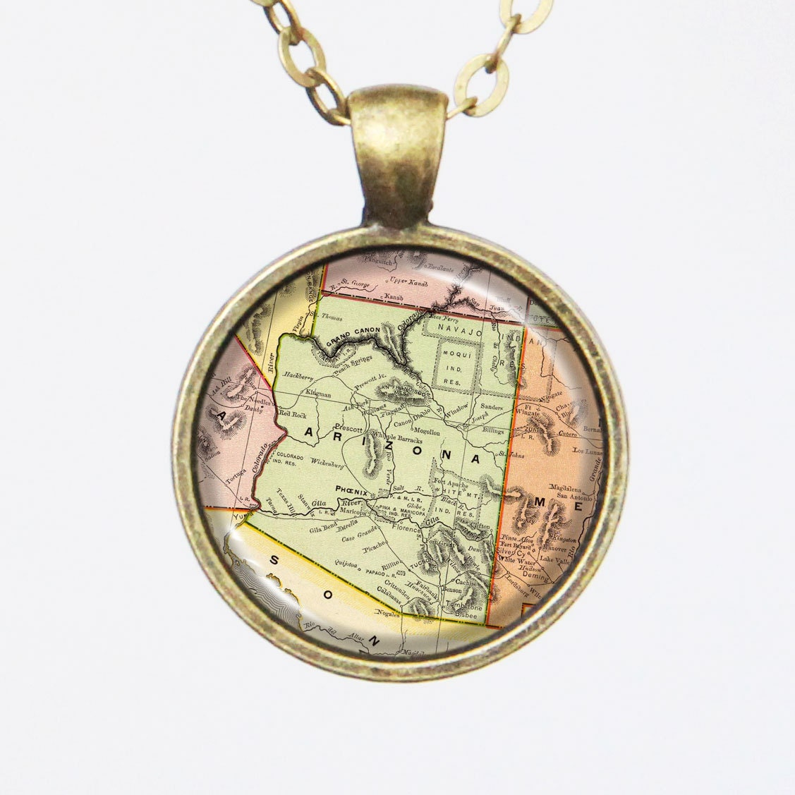 arizona map necklace state of arizona united states vintage