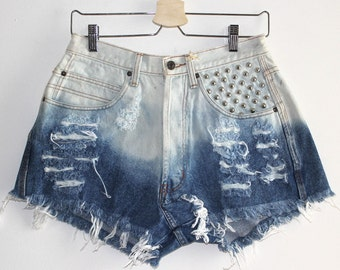 Denim Cutoff Shorts - Bleached Ombre Studded and Frayed