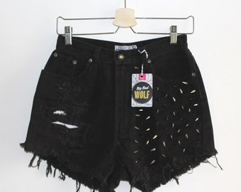 Denim Cutoff Shorts - Black High Waisted, Heavily Spike Studded, Slashed & Frayed