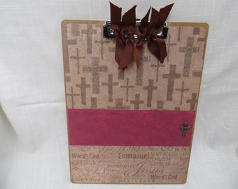 Christian theme clipboard- Jesus, Emmanuel, Word of God, Comforter. Gift for Youth Leader, Pastor, 1st Communion. Personalization available