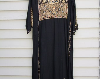 Vintage hand embroidered black caftan w gold tourq and orange piping ala 1970s 1980s