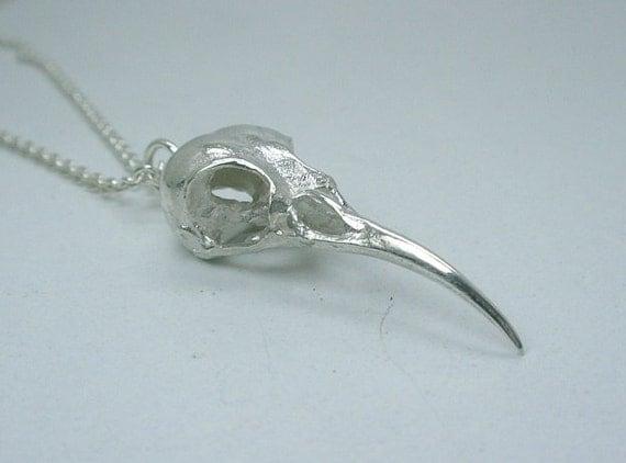 Nectar Bird Skull Necklace, Sterling Silver