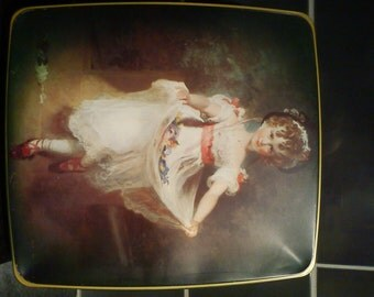 Vintage /Retro tin with young girl in Petticoat/Mayday dancer
