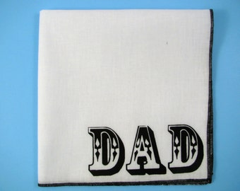Hankie-  DAD shown on super soft white cotton hanky-or choose from any solid color or plaids shown in pics