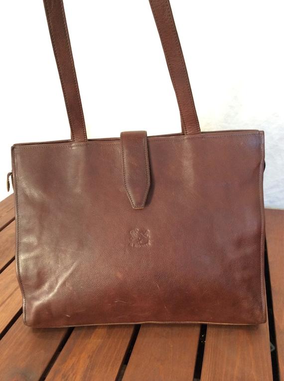 vintage authentic il bisonte brown leather shoulder bag purse