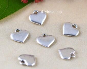 25pcs Antique Silver Heart Charm Pendants 12mm AA107-1