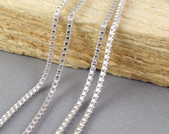 16ft - 5 meters of Silver Plated Square Box Cable Link Chain for Necklaces 1.5mm