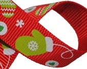 Gloves on Red Grosgrain 5/8 inch (16mm) wide