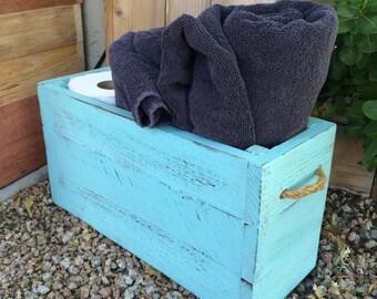 Shabby blue bathroom book crate
