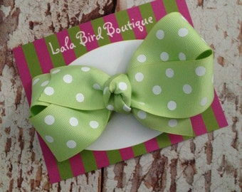 Large Boutique Style Hairbow - Lime Green  Polka Dot