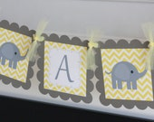 "Baby Shower Unisex Yellow & Grey Chevron Elephant ""It's a Girl"" ""It's a Boy"" or ""Mommy to Be"" Baby Shower Banner - Ask About Party Pack"