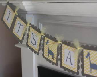"Yellow Grey Chevron - ""Mommy to Be"" ""Its a Boy"" or ""It's a Girl"" Giraffe Baby Shower Banner - Ask About Party Pack Specials"