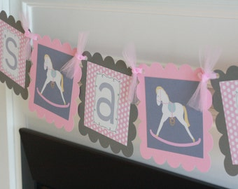 "Pink Grey Polka Dot Rocking Horse Horsey Baby Shower ""Its a Girl"" Banner - Free Ship Over 65"