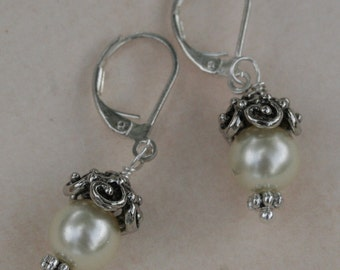 Ivory Glass Pearl Earrings, Silver, Mother's Day Gift, Romantic Bridal Jewelry