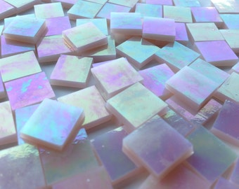 Mosaic Tiles - 100 Small Squares - Iridescent Champagne Stained Glass - Hand-Cut
