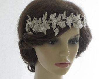 Vintage style bridal headpiece, wedding halo, forehead band - Ivy