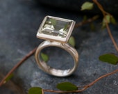 Green Amethyst Ring - Large Amethyst Ring - Beautiful Square Amethyst set in Sterling Silver - Made to Order - FREE SHIPPING