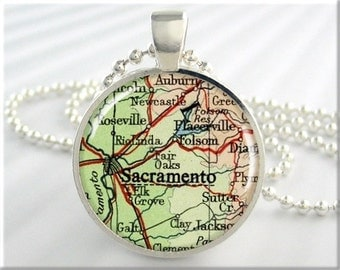 Sacramento Map Pendant Resin Charm Sacramento California Travel Map Necklace Picture Jewelry (661RS)