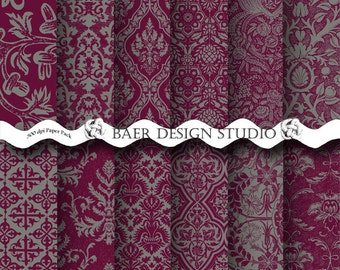 PURPLE and GRAY Digital PAPER, Sangria and Gray Digital Paper, Plum and Grey Damask Digital Paper, Wine Digital Paper, Marsala Digital Paper